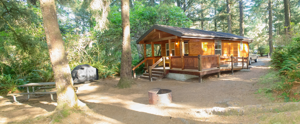 View of the outside of a deluxe cabin at Fort Stevens State Park.