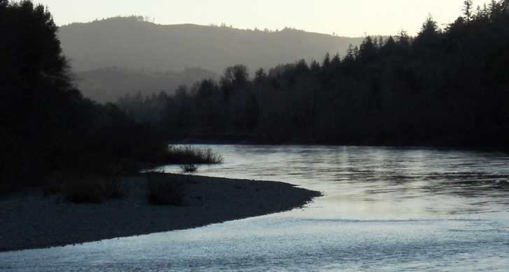 Chetco River at sunset