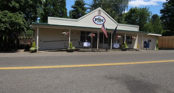 Butteville store with paved ramps to entrance, store has food and is a museum.