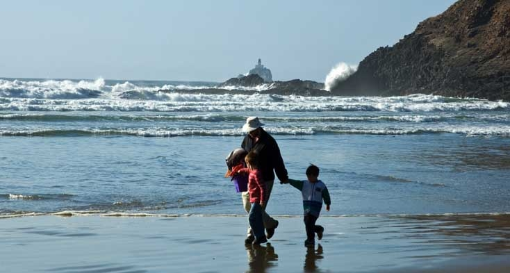 Walking on the beach at Ecola