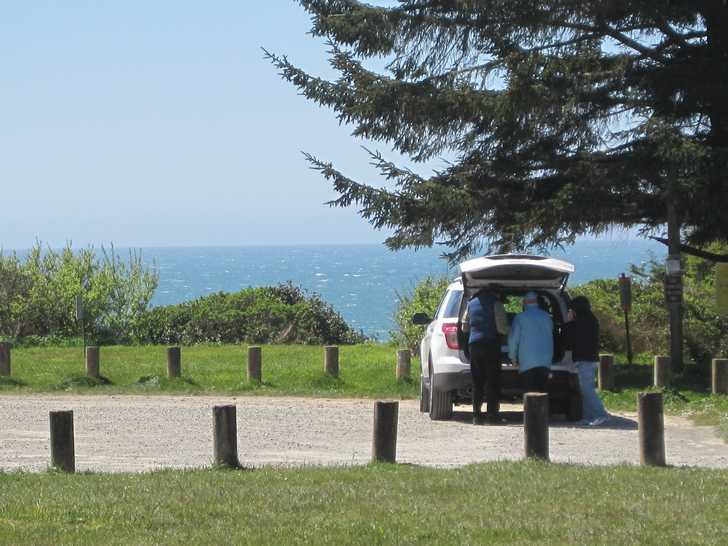 McVay lot, ocean, visitor car