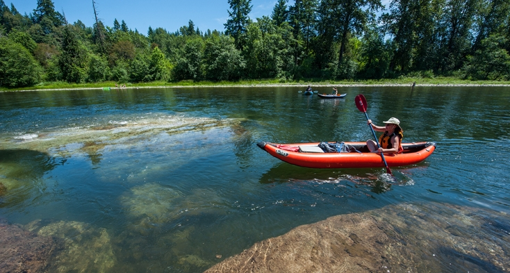 Paddlers and anglers enjoy the currents and channels of the Clackamas River