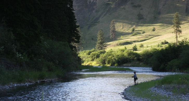 The Wallowa River is a quiet place to fish for stealhead during the spring and fall runs