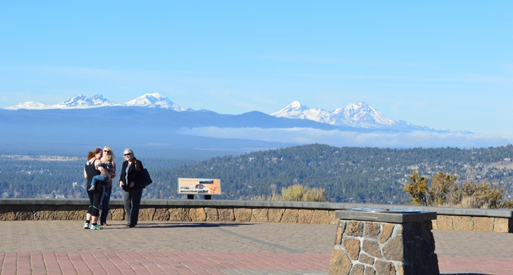 The summit of Pilot Butte boasts 360 degree views of the Cascade Range