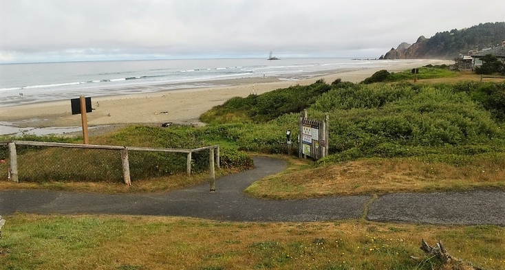 Paved trail to beach with slope up to 11%