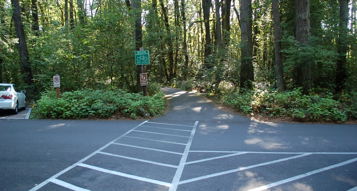 Paved trail near parking.