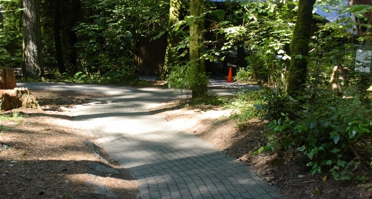 Trail with pavers near visitor center.